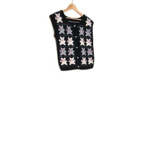 Vintage 80s 90s Fairy Kei Bear Cardigan Sweater